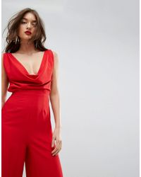 ASOS - Red Jumpsuit With Cowl Neck - Lyst