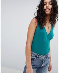 ASOS - Green Top With Wrap Front And Back - Lyst