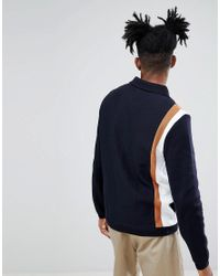 ASOS - Blue Knitted Jacket In Milano Stitch With Vertical Stripe for Men - Lyst