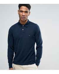 Tommy Hilfiger | Blue Long Sleeve Polo Pique Slim Fit Flag Logo In Navy Exclusive To Asos for Men | Lyst