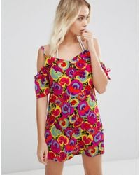 Warehouse - Red Pansy Pop Cold Shoulder Dress - Lyst