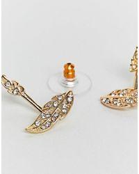 ASOS - Metallic Design Pretty Leaf Swing Earrings - Lyst