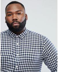 Only & Sons - Blue Slim Fit Gingham Shirt for Men - Lyst