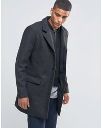 SELECTED - Black Herringbone Overcoat With Detachable Lining for Men - Lyst