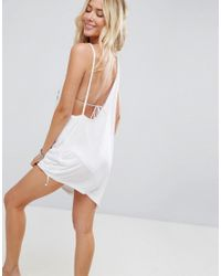 ASOS DESIGN - White Beach Palm Tree And Sunset Embroidered Asymmetric Cover Up - Lyst