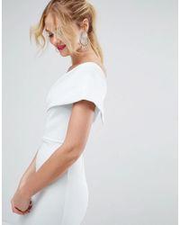 ASOS - Blue Scuba One Shoulder Pephem Midi Dress - Lyst