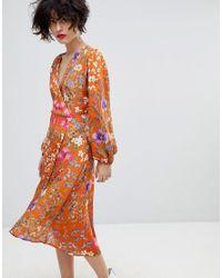 3f2714a345d Lyst - Mango Orange Floral Wrap Over Dress in Orange