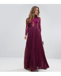 e681680fb381 Lyst - ASOS Wedding Pretty Lace Eyelash Pleated Maxi Dress in Purple