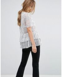 Lost Ink White Smock Top With Embroidery
