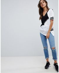 ASOS - Multicolor T-shirt With V-neck And Block Tape Detail - Lyst