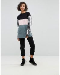 ASOS - Multicolor T-shirt With Colourblock And Stripe Panels And Superlong Sleeves - Lyst
