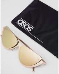 ASOS - Metallic Asos Sliced Top Extreme Cat Eye Sunglasses - Lyst