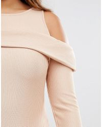 Boohoo - White Ribbed Cold Shoulder Dress - Lyst