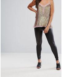 ASOS - Black Petite Leather Look Leggings - Lyst