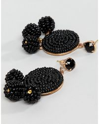 ASOS - Black Design Beaded Disc And Ball Drop Earrings - Lyst