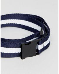 Stradivarius - Blue Woven Stripe Belt In Navy And White for Men - Lyst