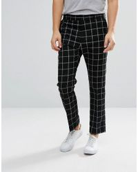 59099b2be6ef Weekday Checked Suit Trousers in Black for Men - Lyst