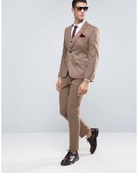 French Connection | Brown Flannel Slim Fit Suit Trousers for Men | Lyst