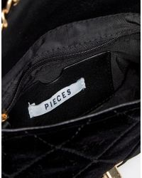 Pieces - Black Quilted Chain Cross Body Bag - Lyst