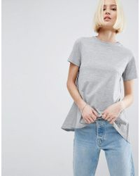 ASOS - Gray Asos T-shirt Stripe With Cape Back - Lyst