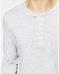 G-Star RAW - Long Sleeve Top Riban Grandad Fabric Placket In Gray Heather for Men - Lyst