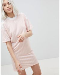 c756bf02737 adidas Originals Three Stripe Dress In Pink in Pink - Lyst