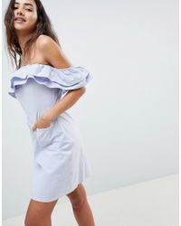 ASOS Blue Ruffle Off Shoulder Mini Sundress