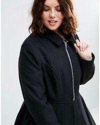 ASOS - Black Swing Coat With Full Skirt - Lyst