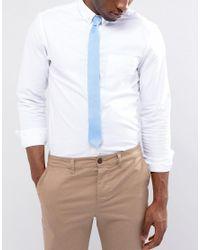 ASOS - Slim Tie In Textured Blue for Men - Lyst