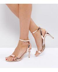 ASOS - Metallic Asos Hideaway Heeled Sandals - Lyst
