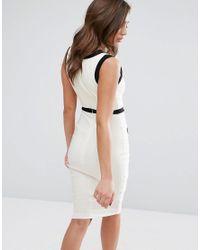 Vesper - White Monochrome Pencil Dress - Lyst