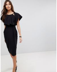 ASOS DESIGN - Black Asos Double Layer Midi Wiggle Dress With Angel Sleeve - Lyst