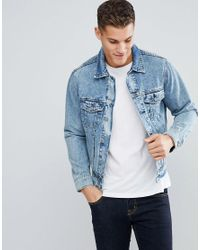 4149bb41ca Lyst - Stradivarius Denim Jacket In Light Blue Wash in Blue for Men