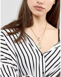 ASOS - Metallic Fluid Shape And Coin Multirow Necklace - Lyst