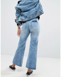Liquor N Poker - Blue Wide Leg Jean In Rigid Denim - Lyst