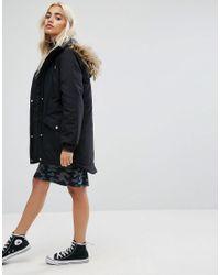 Noisy May Petite - Black Parka Jacket With Faux Fur Trim Hood - Lyst