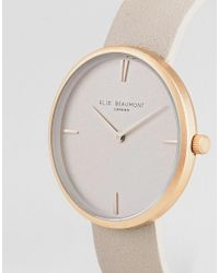 Elie Beaumont Pink Eb817.4 Watch With Rose Gold Case And Stone Strap for men
