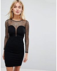 Motel - Black Bodycon Dress With Plunge Front And Sparkle Mesh Top - Lyst