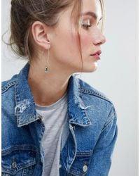 ASOS - Metallic Design Crystal Shard Curved Pull Through Earrings - Lyst