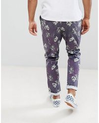 ASOS - Blue Asos Slim Cropped Trousers In Vintage Washed Out Leaf Print for Men - Lyst