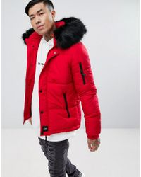 d18eac33f036 Lyst - Sixth June Puffer Jacket In Red With Black Fur Hood in Red ...