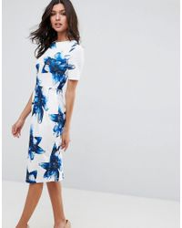 ASOS - Wiggle Dress In Blue Floral - Lyst