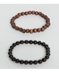 ASOS - Design Beaded Bracelet Pack In Matte Black With Skull for Men - Lyst
