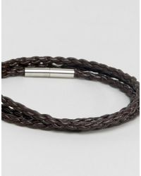 Seven London - Brown Braided Leather Wrap Bracelet for Men - Lyst
