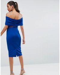 ASOS - Blue Bardot Dobby Mesh Cut Out Midi Bodycon Dress - Lyst