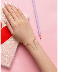 ASOS - Metallic Faux Opal Stone Linked Chain Cuff Bracelet - Lyst