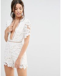 580d4f46b5 Lyst - Missguided Lace Kimono Sleeve Playsuit in White