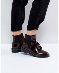 ASOS - Red Adel Leather Ring Ankle Boots - Lyst