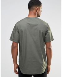 ASOS - Green Perforated Woven Tee In Khaki for Men - Lyst