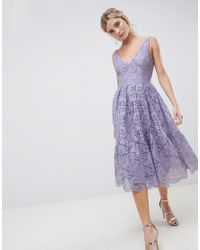 93e758da95a ASOS Lace Plunge Neck Midi Prom Dress in Purple - Lyst